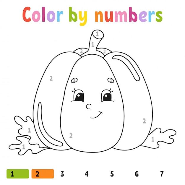 Kleur op nummer pompoen. kleurboek voor kinderen. plantaardig karakter. Premium Vector