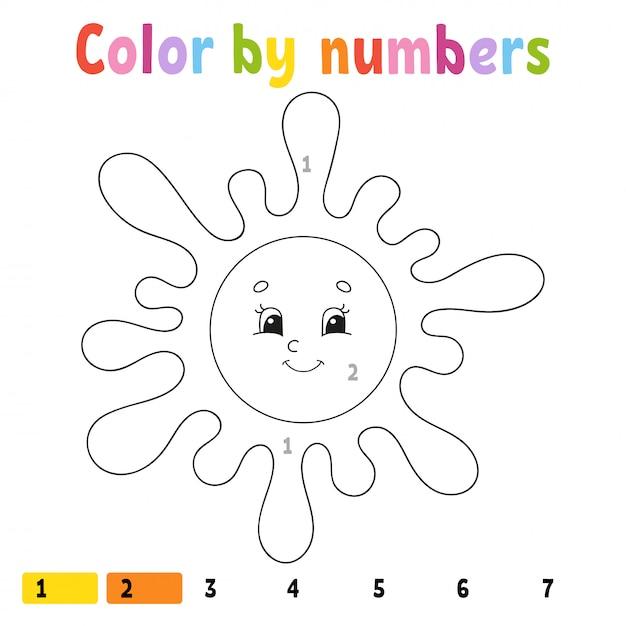 Kleur op nummer. Premium Vector