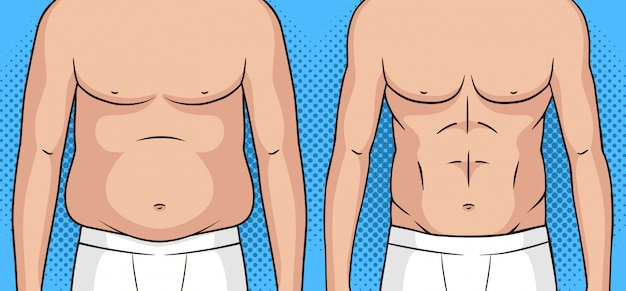Kleur pop-art stijl illustratie van een man voor en na gewichtsverlies. Premium Vector