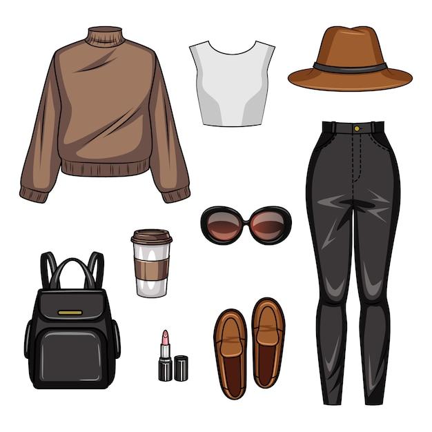 Kleur realistische afbeelding van casual dameskleding. set van jeugdstijl van meisje kleding en accessoires geïsoleerd Premium Vector