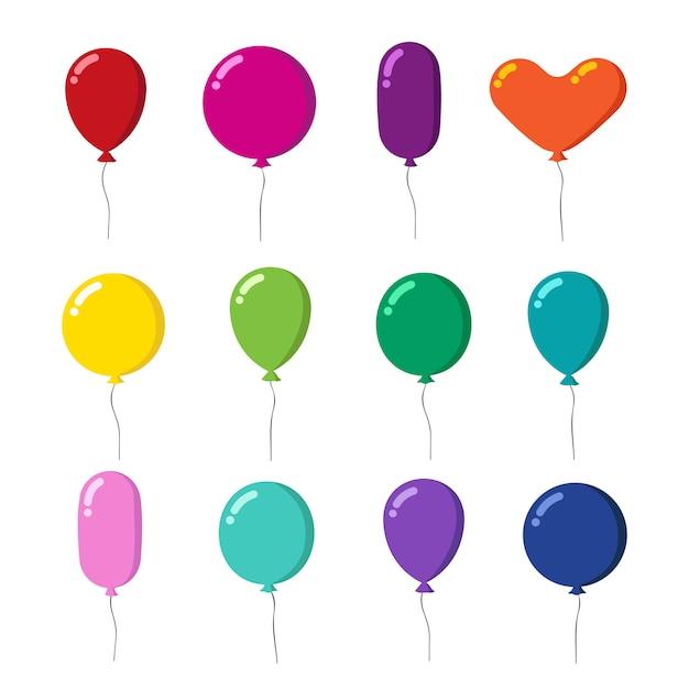Kleur rubber vliegende cartoon ballonnen met string set geïsoleerd op wit Premium Vector
