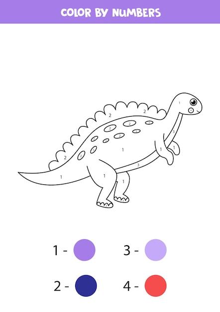 Kleur schattige cartoon dinosaurus op nummer. kleurplaat voor kinderen. Premium Vector