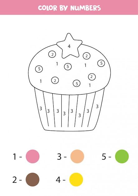 Kleur schattige cupcake op nummer. educatief spel voor kinderen. kleurplaat. Premium Vector