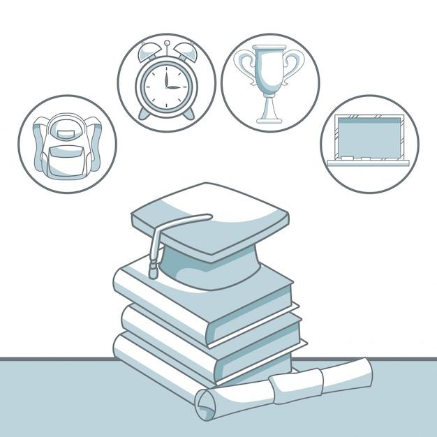 Kleur silhouet arcering van stapel boek met afstuderen cap en gecertificeerd met pictogrammen Premium Vector