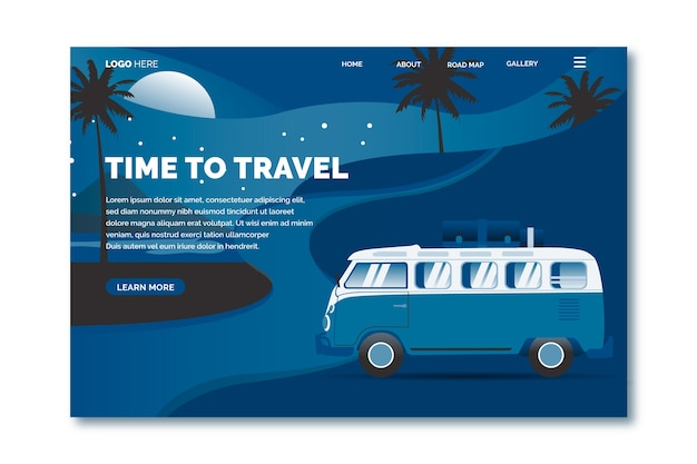 Kleur van het jaar 2020 pantone reis bestemmingspagina sjabloon Gratis Vector
