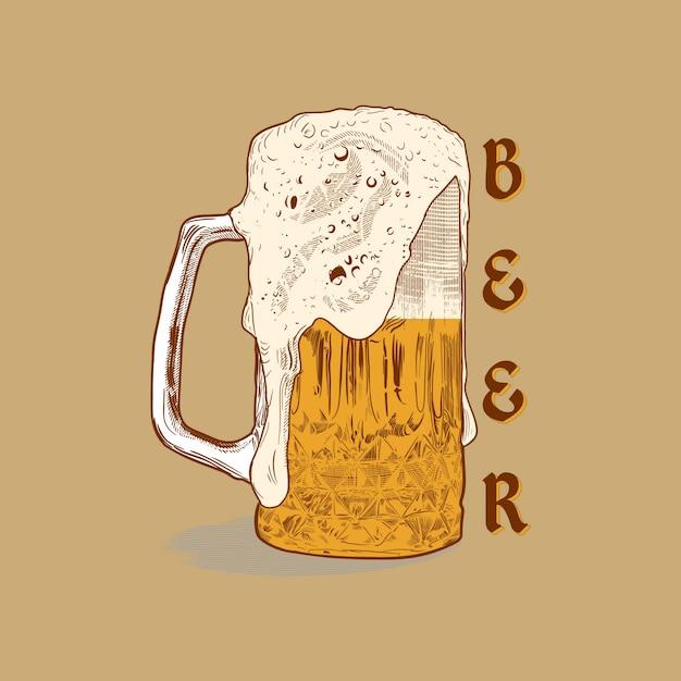 Kleur vector afbeelding van een pul bier. drink met veel schuim. bier van de tap. wijnoogst Premium Vector