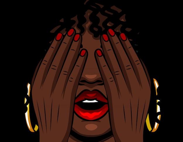 Kleur vector illustratie afro-amerikaans meisje heeft betrekking op haar gezicht met haar handen. het meisje ervaart emoties van stress, angst, pijn, vermoeidheid. meisje met rode open lippen en gesloten ogen Premium Vector