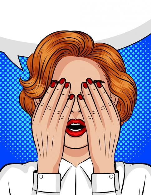 Kleur vector pop-art stijl illustratie van een meisje met een open mond die haar gezicht bedekt met haar handen. emoties van angst, woede, pijn, frustratie. de ogen van het meisje gingen dicht in afwachting van een verrassing. Premium Vector