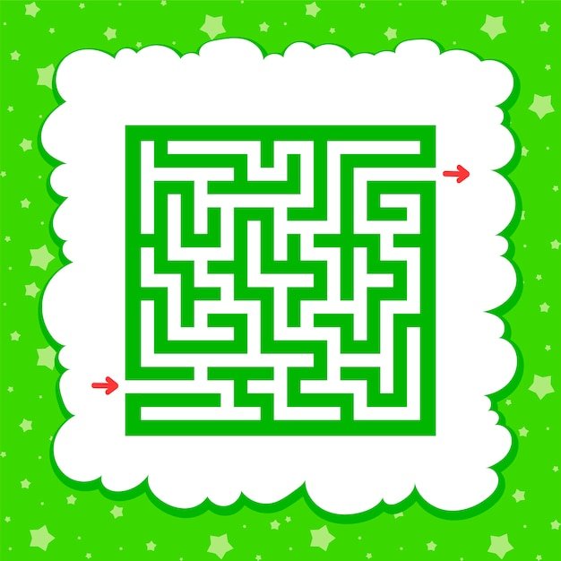 Kleur vierkant doolhof. spel voor kinderen. puzzel voor kinderen. Premium Vector