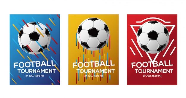 Kleur voetbal toernooi flyer achtergrond Premium Vector