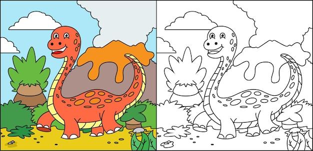 Kleurboek dino voor kinderen Premium Vector