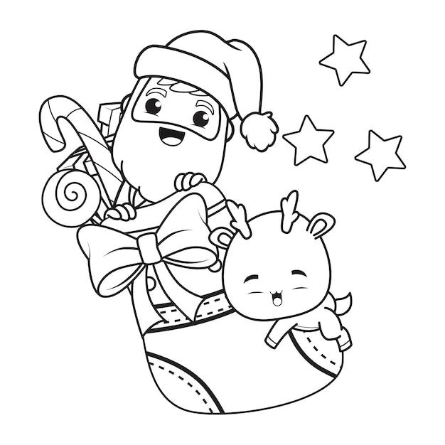 Kleurboek kerstdag met de kerstman en schattige herten Premium Vector