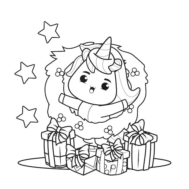 Kleurboek kerstdag met schattige eenhoorn Premium Vector
