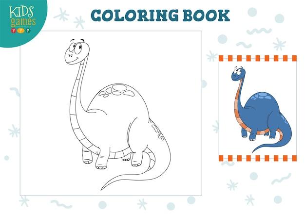 Kleurboek, lege pagina-afbeelding. preschool kinderen activiteit met het tekenen en kleuren van dinosaurus stripfiguur. Premium Vector
