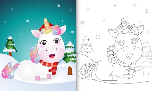 Kleurboek met een kerstkarakters van eenhoornherten met een hoed en sjaal Premium Vector
