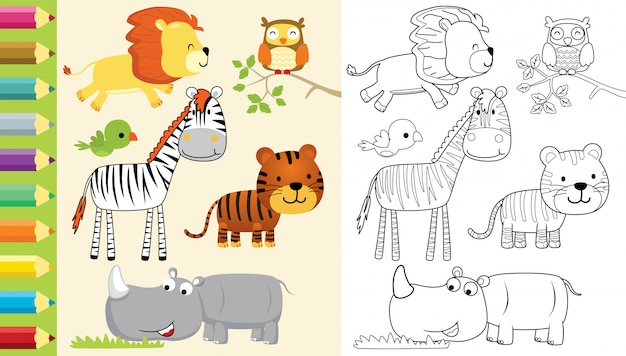 Kleurboek met groep dieren cartoon Premium Vector