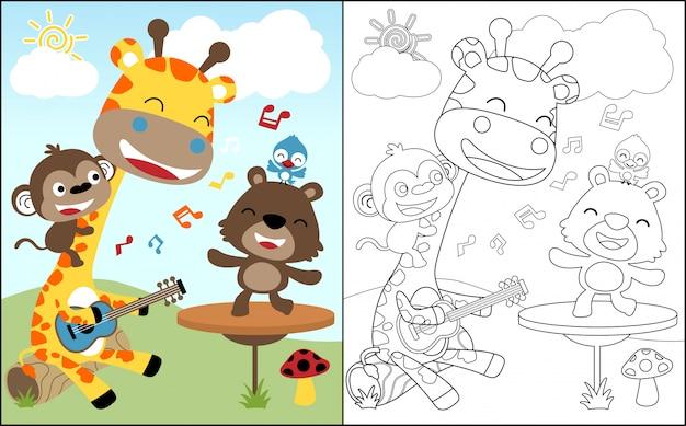 Kleurboek met leuke dieren cartoon zingen Premium Vector