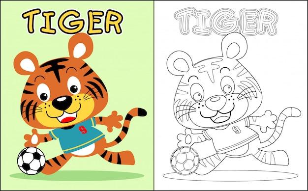 Kleurboek met mooie tijger Premium Vector