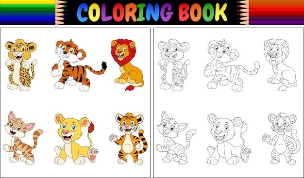 Kleurboek met verzameling wilde katten Premium Vector