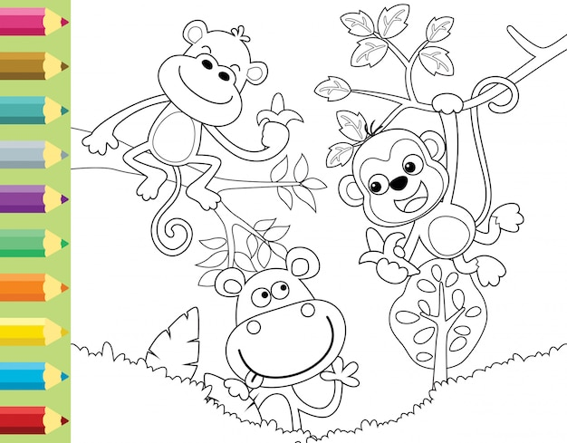 Kleurboek of pagina met grappige aap cartoon Premium Vector