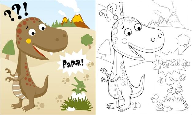 Kleurboek of pagina van grappige dinosaurussen cartoon Premium Vector