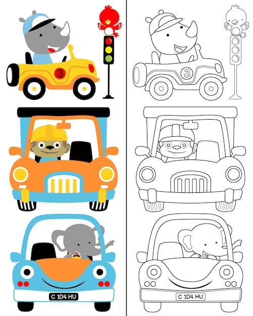 Kleurboek vector van voertuig cartoon set met grappige bestuurder Premium Vector