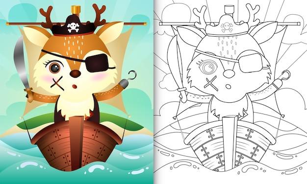 Kleurboek voor kinderen met een schattige piraat herten karakter illustratie op het schip Premium Vector