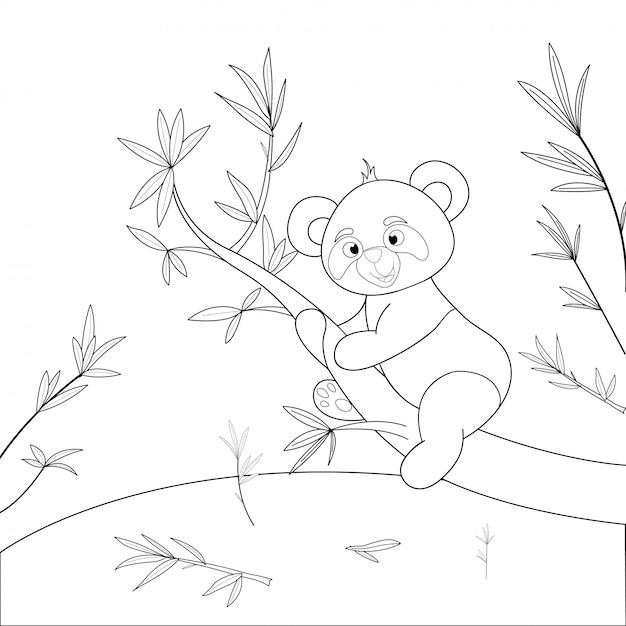 Kleurboek voor kinderen met tekenfilm dieren. educatieve taken voor kleuters schattige panda Premium Vector