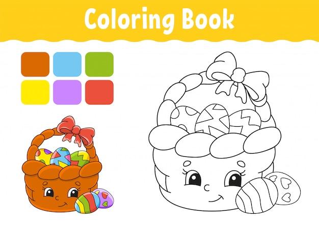 Kleurboek voor kinderen. paasmandje. vrolijk karakter. vector illustratie leuke cartoonstijl. Premium Vector