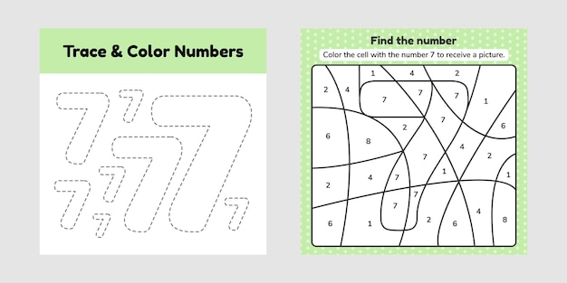 Kleurboeknummer voor kinderen. werkblad voor voorschoolse, kleuterschool en schoolleeftijd. traceerlijn. schrijf en kleur een zeven. Premium Vector