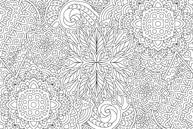 Kleurboekpagina met lineaire monochrome kunst Premium Vector