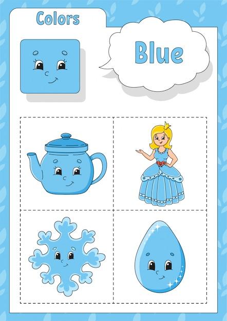 Kleuren leren. blauwe kleur. flashcard voor kinderen. leuke stripfiguren. Premium Vector
