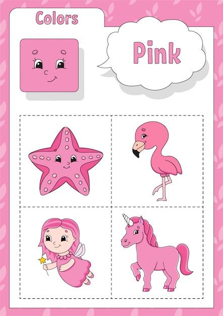 Kleuren leren. roze kleur. flashcard voor kinderen. Premium Vector