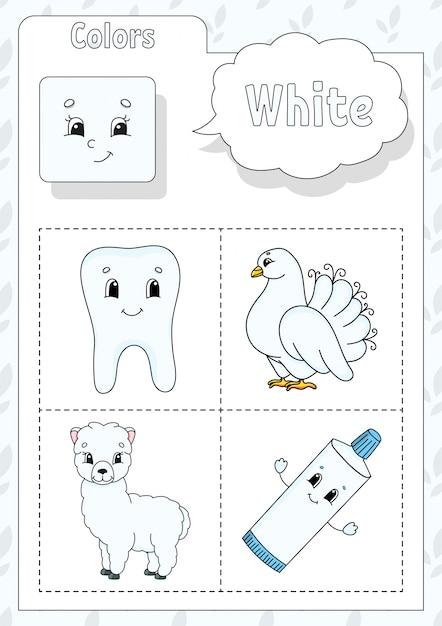 Kleuren leren. witte kleur. flashcard voor kinderen. Premium Vector