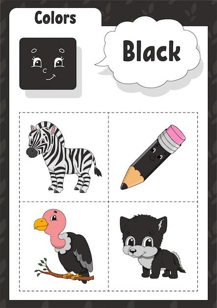 Kleuren leren. zwarte kleur. flashcard voor kinderen. Premium Vector