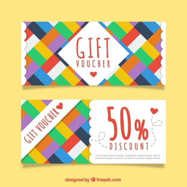 Kleuren rechthoeken gift coupons Gratis Vector