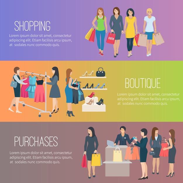Kleuren vlakke horizontale banners met tekst die vrouw tonen die in boutique winkelen Gratis Vector