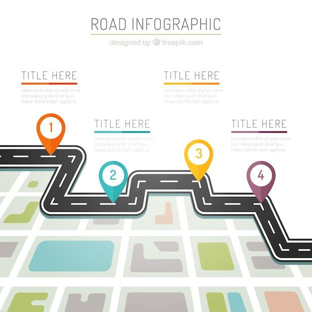 Kleuren weg infografie Gratis Vector