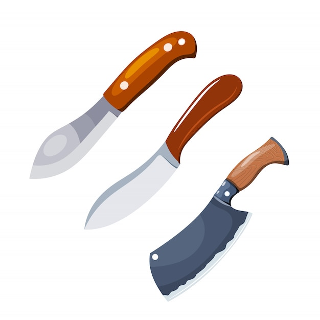 Kleurenafbeelding van het mes. Premium Vector