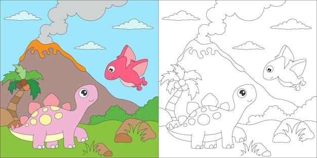 Kleurende stegosauriërs en vriendillustratie Premium Vector