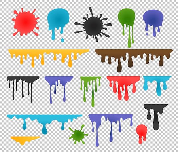 Kleureninktvlekken en druppels Premium Vector
