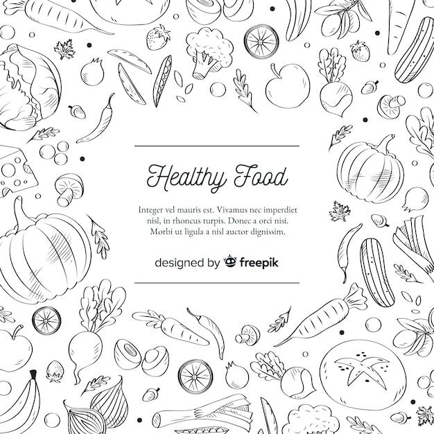 Kleurloos gezond voedsel achtergrondmalplaatje Gratis Vector