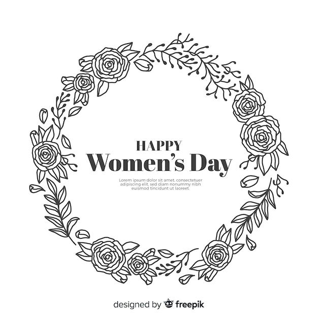 Kleurloze bloemen krans vrouwen dag achtergrond Gratis Vector