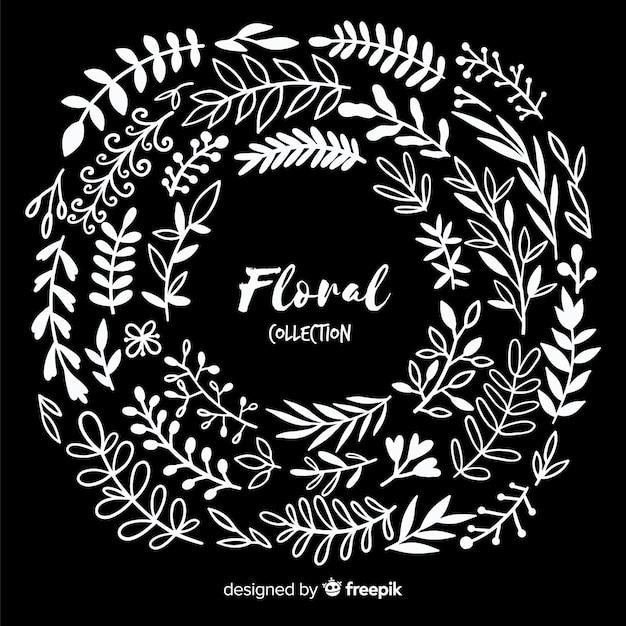Kleurloze florale decoratie-elementen Gratis Vector
