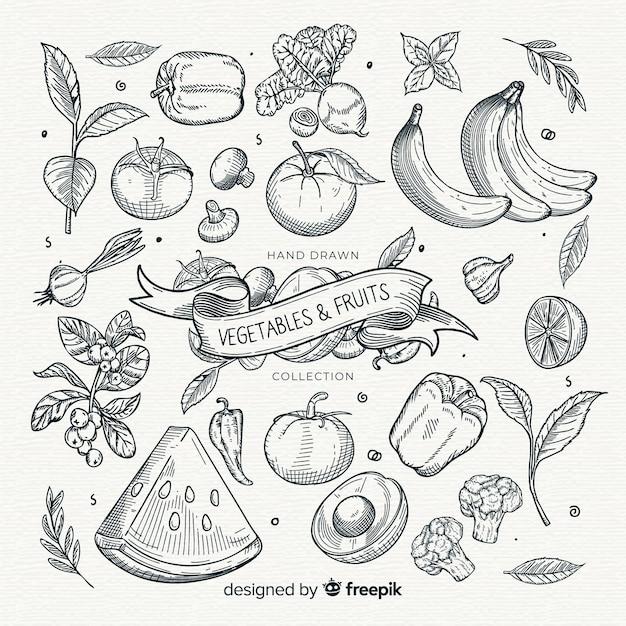Kleurloze groenten- en fruitverzameling Gratis Vector