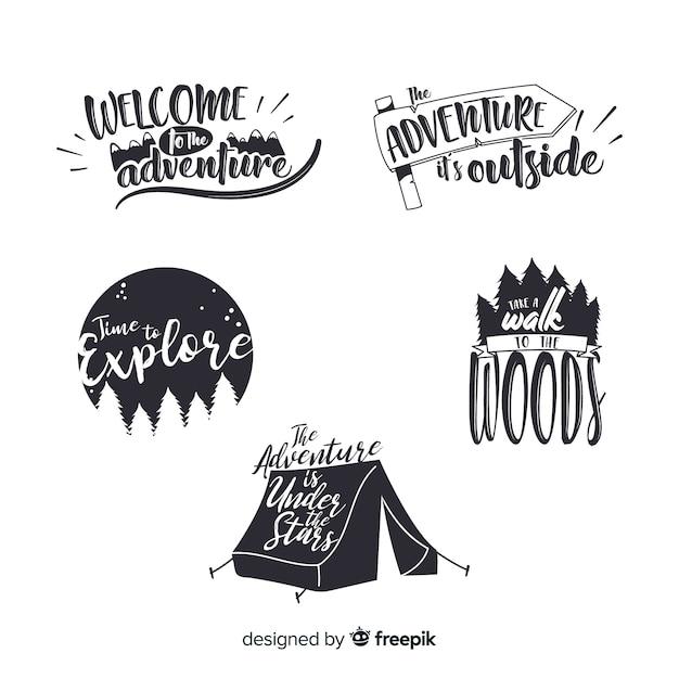 Kleurloze hand getrokken avontuur logo-collectie Gratis Vector
