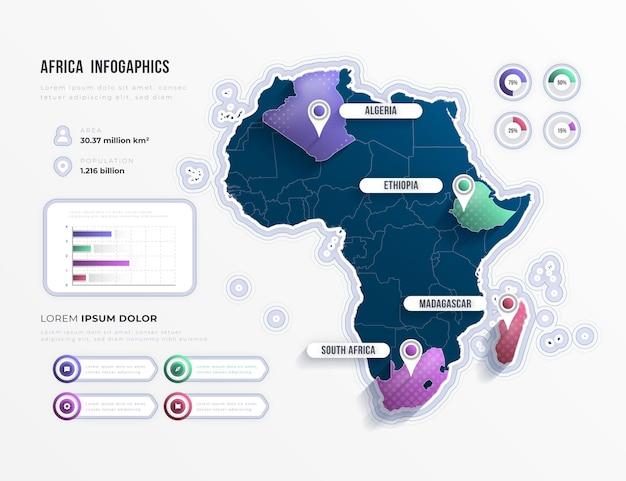Kleurovergang afrika kaart infographic Gratis Vector