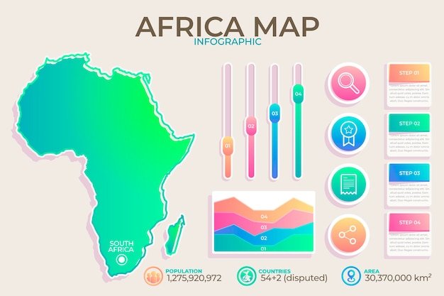 Kleurovergang afrika kaart infographic Premium Vector