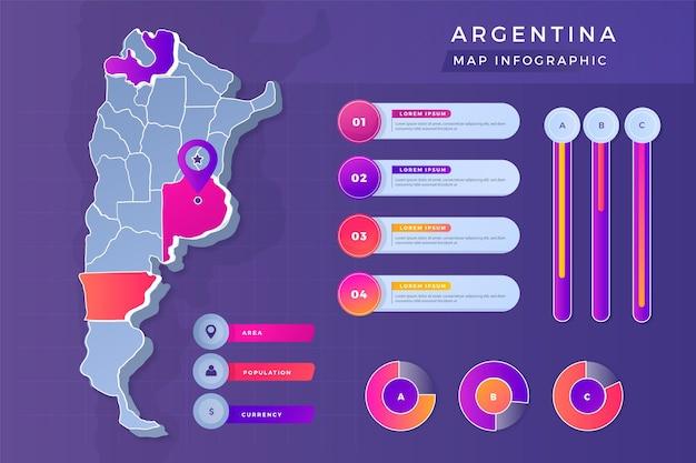 Kleurovergang argentinië kaart infographic Premium Vector