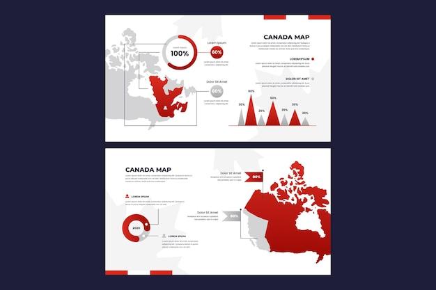 Kleurovergang canada kaart infographic Gratis Vector